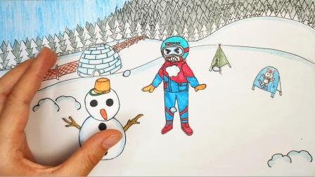 八爪鱼手绘定格动画:堆雪人、打雪仗