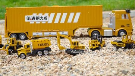 工程车玩具:货柜车、挖掘机、压路机、推土机,儿童汽车玩具模型