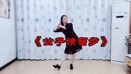 武汉白玫瑰广场舞《公子请留步》完整版正背面,简单易学流行舞