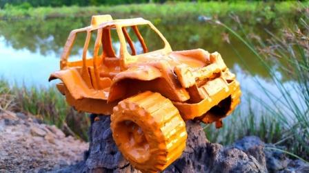 越野车怎么不见了两个轮胎?工程车玩具