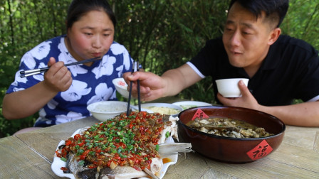 胖妹家蔬菜大丰收,连忙给亲戚邻居送去,回家做一鱼2吃,好过瘾