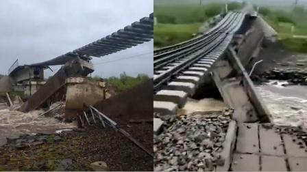 呼伦贝尔一50多年桥龄铁路桥被洪水冲垮,桥梁从中间断裂
