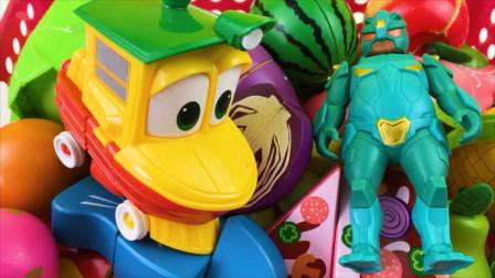 铁胆火车侠和超变武兽玩水果切切乐