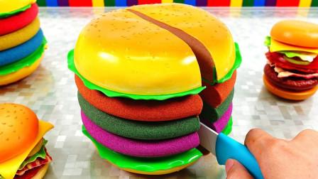 儿童益智太空沙玩具:一起来太空沙,做彩色巨无霸汉堡