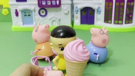 大头儿子来佩奇家玩,佩奇给他拿了根冰淇淋