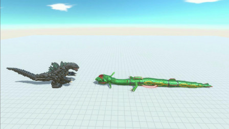 1只哥斯拉,对战1只大绿蛇。输赢就在一瞬间