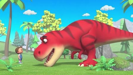 超级孩子 和恐龙一起踢足球 育儿早教启蒙益智