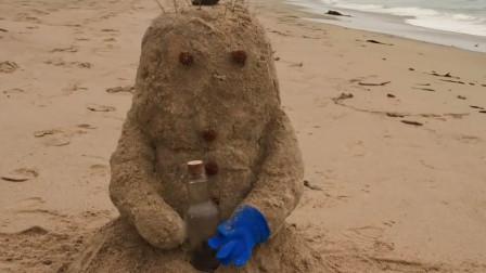 沙子和雪人相恋,中间却隔着大海,于是它们和大海融为一体
