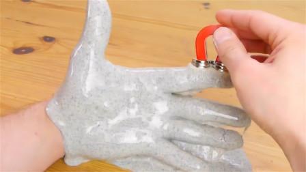 """不可思议的科学现象,橡皮泥自己会""""吃""""磁铁,这原理你知道吗?"""