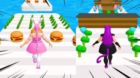 肌肉我最美:小舞和朱竹清吃汉堡比赛,结果把自己成一个大胖子!