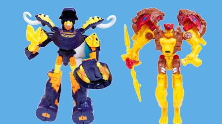 咖宝车神:猛犸莫斯和狮王凯恩机器人变形玩具