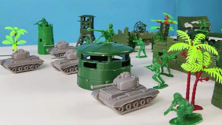 兵人玩具对战,蓝色兵人玩具攻击绿色兵人,用导弹打掉了飞机玩具