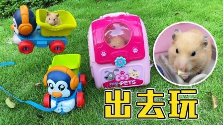 主人带着玩具车和小仓鼠在草地上一起玩