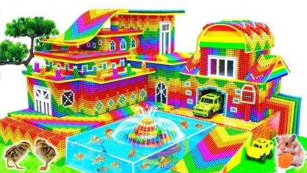 彩色的巴克球玩具建造喷泉山庄