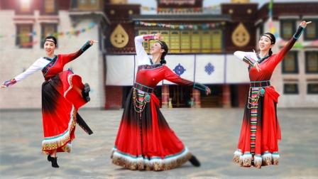 萱萱广场舞《再唱山歌给党听》红歌藏族舞外景,满满的正能量