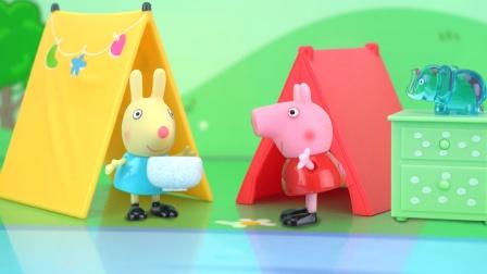 小猪佩奇露营搭建帐篷的故事