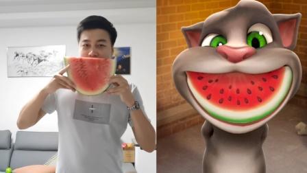 会说话的汤姆猫:小强模仿汤姆猫,把一个大西瓜吃进去?