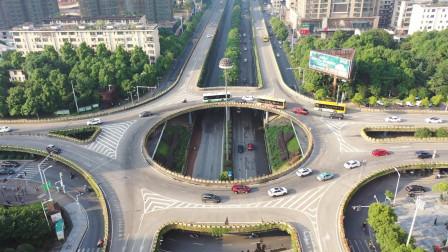 360度航拍衡阳市华新立交桥 转盘上交通标志已优化升级,高空俯瞰一目了然