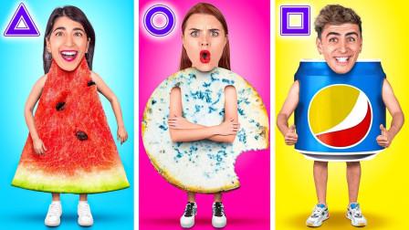 外国妹子几何图形美食大挑战,画面十分搞笑,网友:有些操作看不懂
