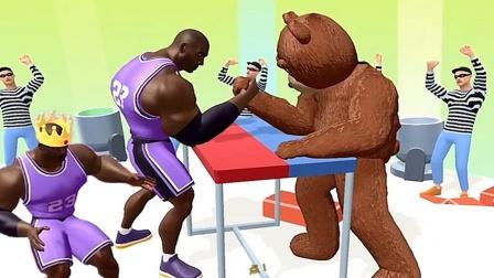 巨人冲冲冲:大块头第一次和肌肉熊PK,惊呆了