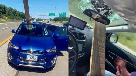 实拍:轿车高速行驶中被木板砸穿玻璃 女乘客险被击中!
