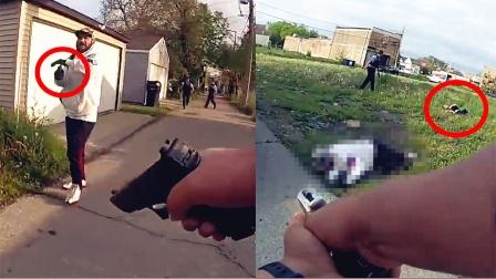 手速真快!实拍:美国一嫌犯突然开枪偷袭警察瞬间爆发枪战!