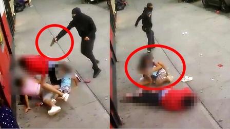 监拍:美国枪手当街追杀男子 无辜女孩用身体为弟弟挡子弹!
