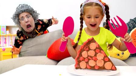萌娃益智亲子游戏:萌宝小萝莉想吃超多巧克力,可是奶奶为何不允许?