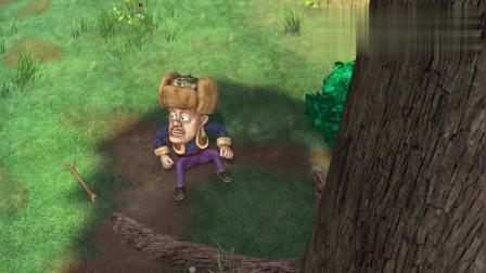 熊出没:光头强够不着蜂巢正发愁, 这时熊大过来, 他有办法吗