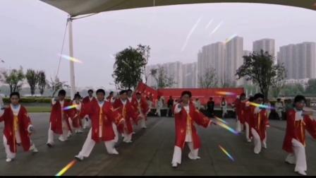 庆祝中国共产党建党100周年——湖北荆州石首市永康太极拳俱乐部在陈家湖公园举行