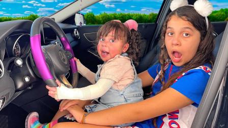 萌娃益智亲子游戏:萌宝小萝莉和妹妹想开车,可是爸爸为何不允许?