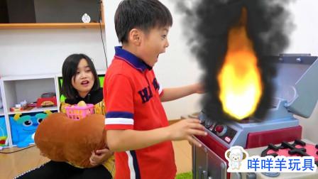 糟糕,萌娃小萝莉做汉堡,可是家里怎么着火了?小正太能帮大忙吗?儿童亲子益智游戏