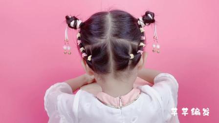 儿童短发如何扎古风丸子头发型?