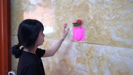 这个硅胶花瓶,插上花美美哒,贴起来也简单,还不占地方,太赞了