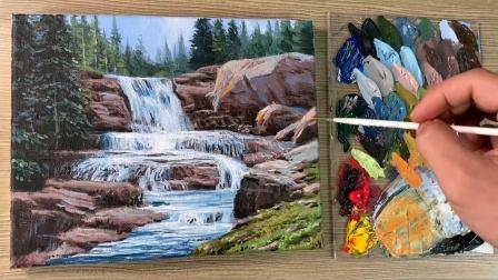 森林溪流瀑布风景作品,清澈的泉水倾泻而下,简单的丙烯绘画教程