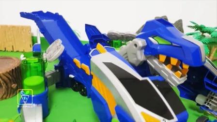 蓝色和黄色机器恐龙运来各种小恐龙