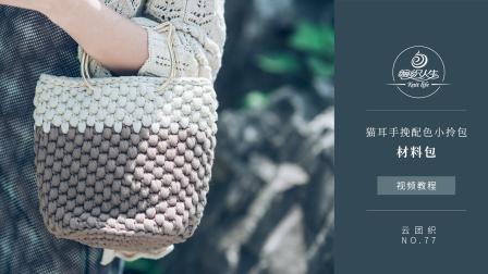 【编织人生】猫耳手挽配色小拎包