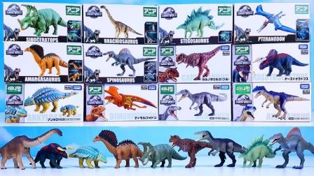 侏罗纪世界的彩色恐龙玩具拆盒
