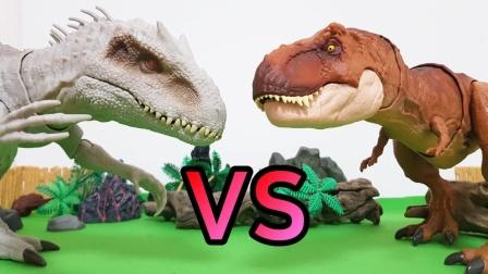 白色大恐龙欺负小恐龙,霸王龙来教训他