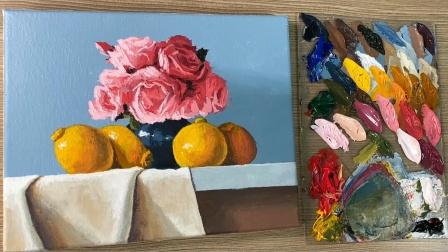 水果和鲜花丙烯画静物作品,有点难的丙烯绘画教程