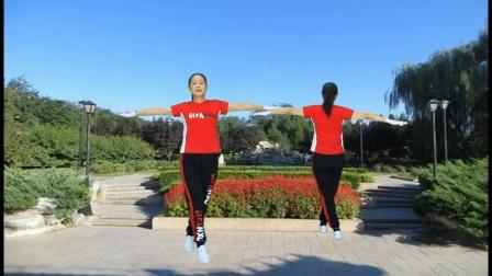 河口轻舞飞扬健身操 第二十三套 第五节 腰部运动 正背面演示