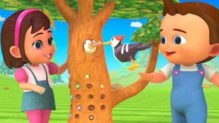 玩具啄木鸟吃彩色小虫 宝宝识颜色 育儿早教启蒙益智