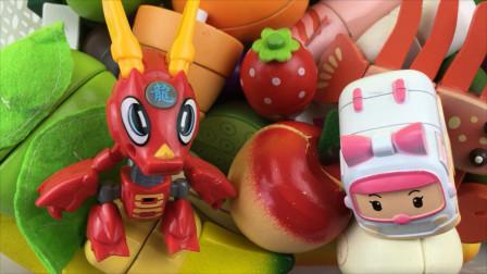 钢甲小龙侠和救护车安巴玩切水果玩具