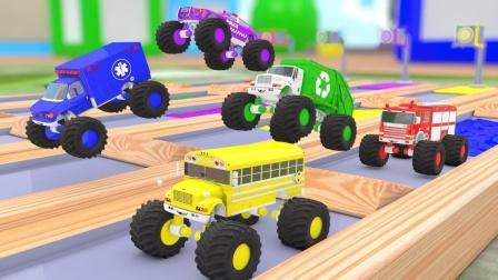 给各种交通工具车上色 学习汽车颜色和名称
