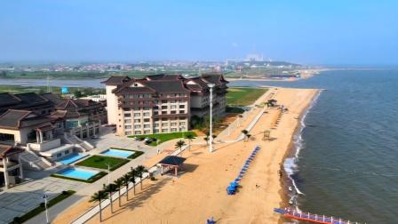 航拍东戴河海滩美景