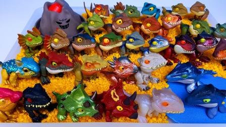 彩色迷你侏罗纪恐龙玩具拆盒
