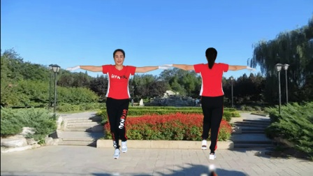 河口轻舞飞扬健身操 第二十三套 第六节 环臂运动 正背面演示