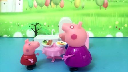 猪奶奶要去喂小动物,佩奇看到也要跟着