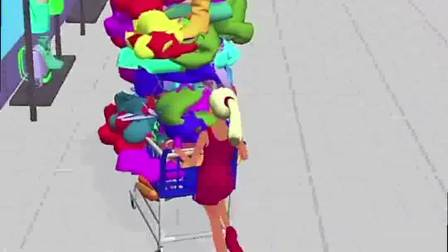 趣味小游戏:女王带着购物车,买衣服都装满了