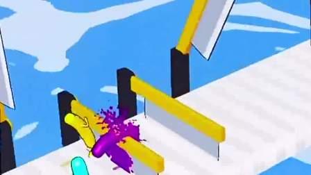 趣味小游戏:三个香肠人比赛,这个刀子很锋利